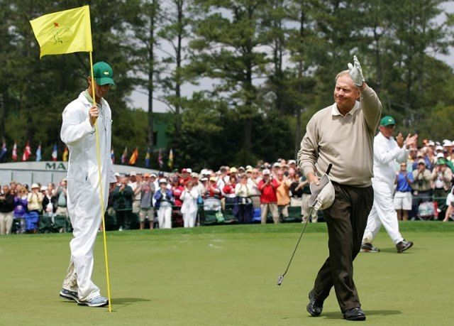 April 9, 2005: Jack Nicklaus waves goodbye during his final round at the Masters. (Photo by Harry How/Getty Images)