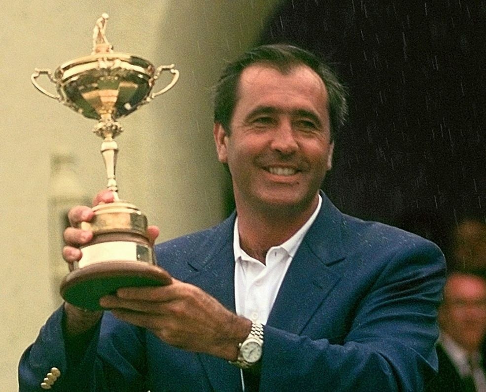 Seve Ballesteros holding the Ryder cup aloft.