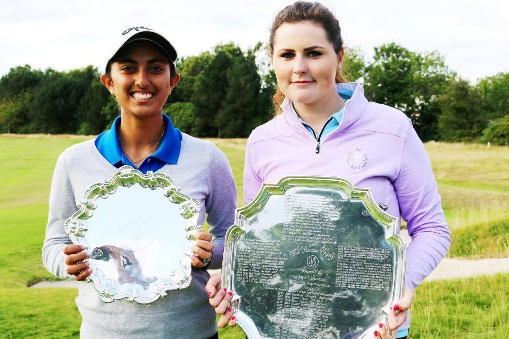 OLIVIA MEHAFFEY, right, with runner-up Holden Trophy; on left winner Aditi Ashok with Nicholls Trophy Aug 2015.