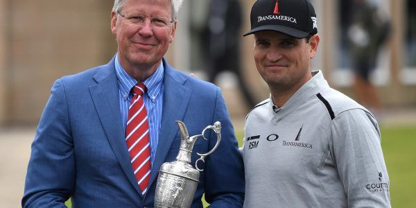 Zach Johnson handed the Claret Jug back over to R&A chief executive Martin Slumbers on Monday.