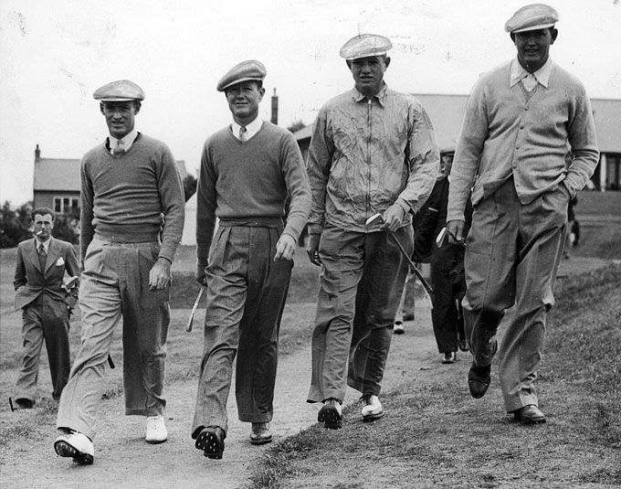 June 1937: From left to right, Densmore Shute, Byron Nelson, Horton Smith and Edward Dudley, members of the American golf team at the 1937 Ryder Cup. (Photo by Fox Photos/Getty Images)