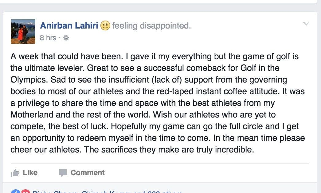 Lahiri's post on his Facebook Page after the Golf's men event at the Olympics.