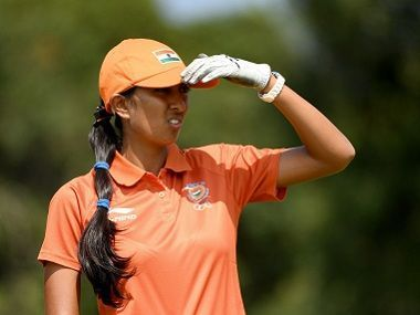 RIO DE JANEIRO, BRAZIL - AUGUST 19: Aditi Ashok of India in action during the third round of the Women's Individual Stroke Play golf on day 14 of the Rio Olympics at the Olympic Golf Course on August 19, 2016 in Rio de Janeiro, Brazil. (Photo by Ross Kinnaird/Getty Images)