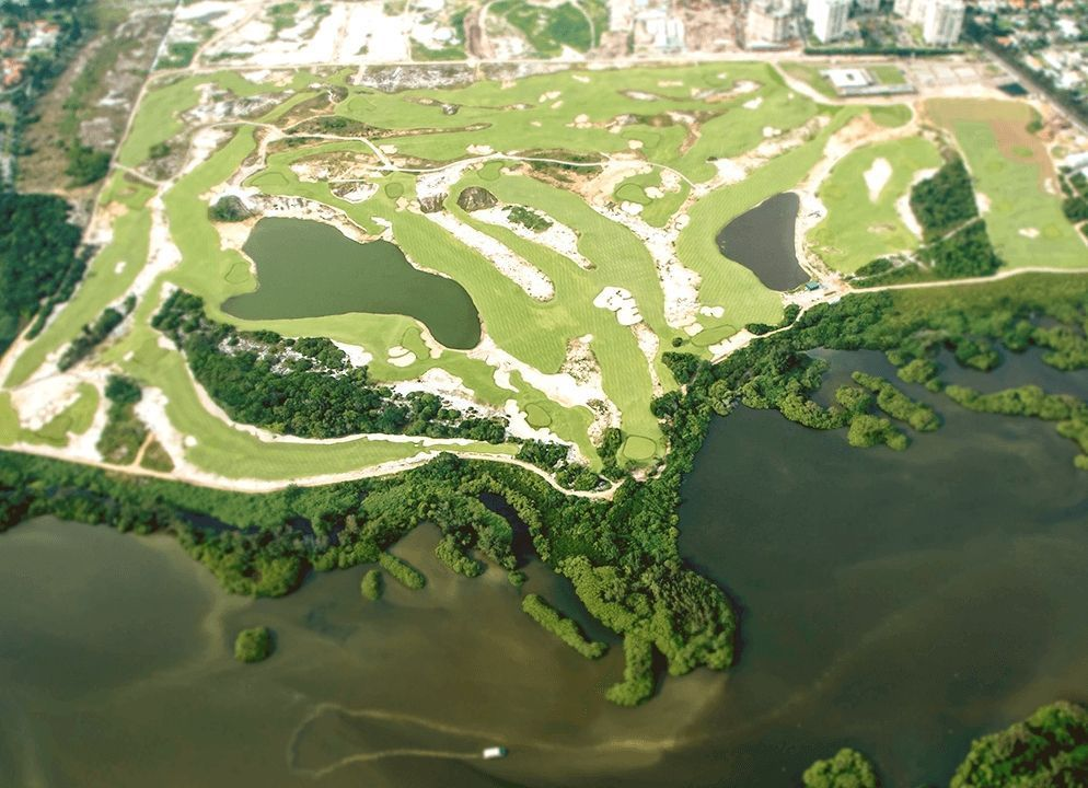 An aerial view of the entire Olympic golf course.
