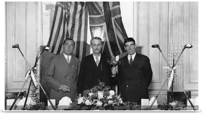 American business man and founder of The Ryder Cup Samuel Ryder (centre) with American team captain Walter Hagen (left) and British team captain George Duncan at a dinner function to launch The 1929 Ryder Cup at Moortown, Yorksh.